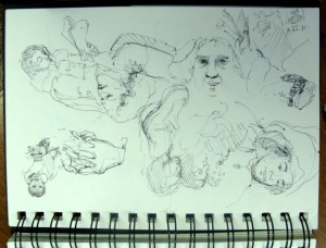 sketchbook drawings, Lillian Kennedy, NYC subway