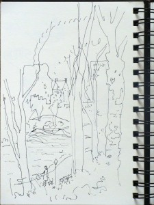 NYC, Central Park, Lillian Kennedy, pen and sketchbook