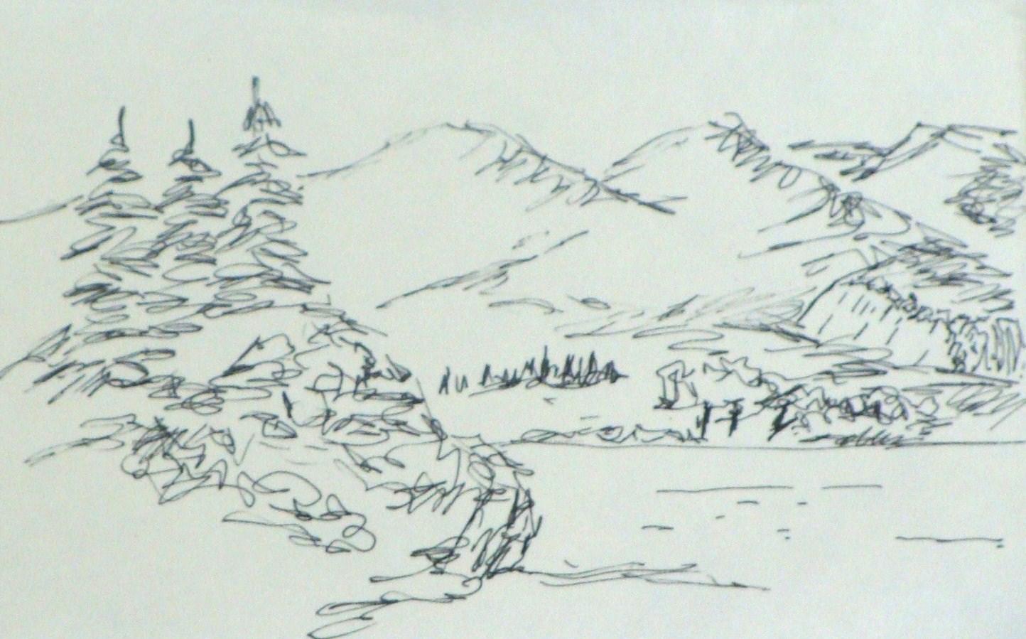 Line Drawing Garden : Pocket sketchbook ″x ″ landscape drawing michel