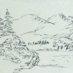 "pocket sketchbook, 2.5""x4"" landscape drawing , Michel Reynolds, ClubTuesday drawing exercises"