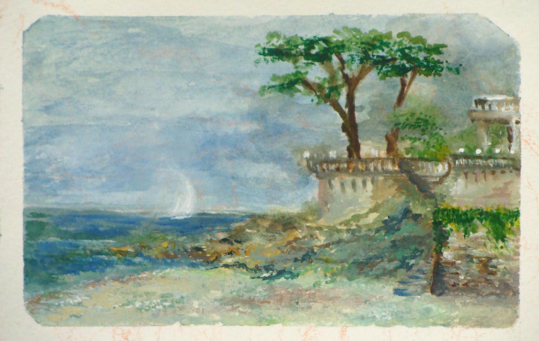 Tisha Wood watercolor of Corsican Beach