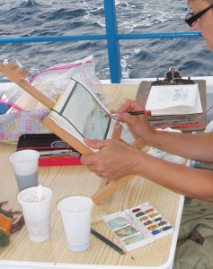Tisha Wood - plein air painting in Corsica on a boat - Lillian  Kennedy Blog