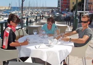 Tisha Wood, Myra Balezi, and Tim Watts sketching in Corsica