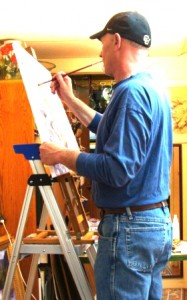 Howard Fischer painting in Club Tues. class, Boulder, CO, Lillian Kennedy