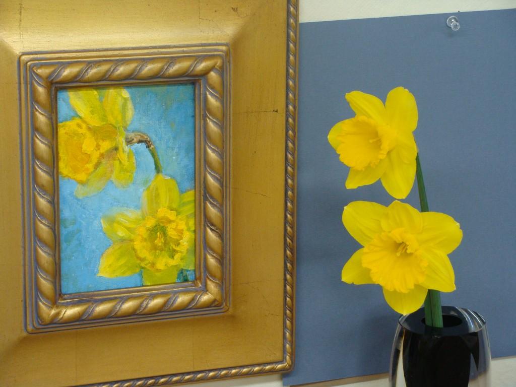 """acrylic 7""""x5"""" """"Daffodil Study"""" Lillian Kennedy"""