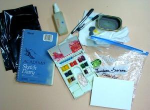 plein air travel kit in a baggie, Lillian Kennedy