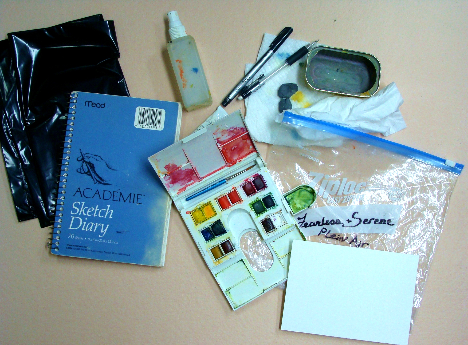 plein air travel kit in a baggie, Lillian Kennedy