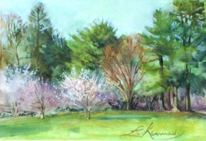 "Longwood Gardens entrance, Lillian Kennedy 5""x7"" watercolor and gouache"