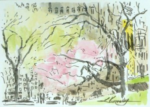 "Central Park South, Lillian Kennedy, watercolor and brush marker  5""x7"""