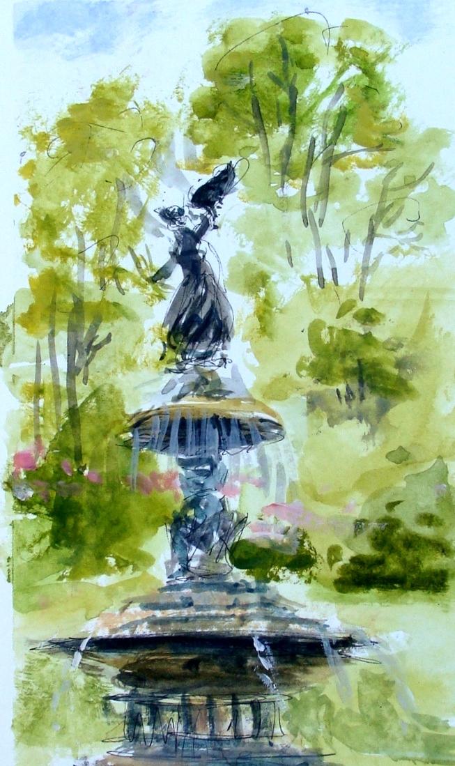 Janette Rozene - Watercolor and gouache - Bethesda Fountain