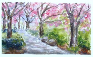 Janette Rozene, Brooklyn Botanic Garden, watercolor and gouache, Lillian Kennedy workshop