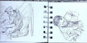 Janette Rozene, subway drawing, Lillian Kennedy workshop