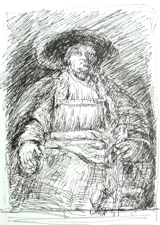 Janette Rozene, Rembrant copy drawn in the Frick Museum, Lillian Kennedy workshop