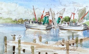 "Shrimpboats and Seagulls in Swansboro, NC - L. Kennedy - 5""x7"" watercolor, micron pen, and guoache"