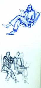 gesture figure drawings at the airport, Lillian Kennedy