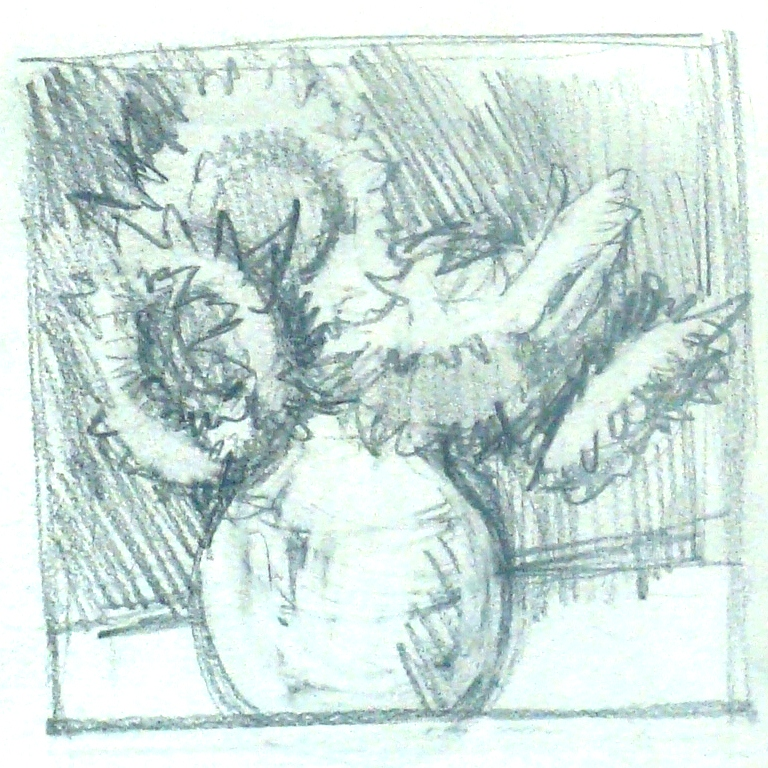 Lillian Kennedy Pencil drawing of sunflowers.