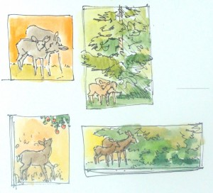 Thumbnail explorations from the deer in the studio garden - Lillian Kennedy