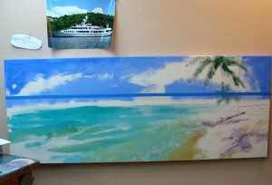 Lillian Kennedy, beginning a commision, Caribbean painting, Weekly Art lesson online