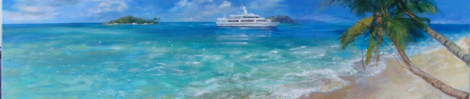 Lillian Kennedy acrylic Caribbean painting commission in progress