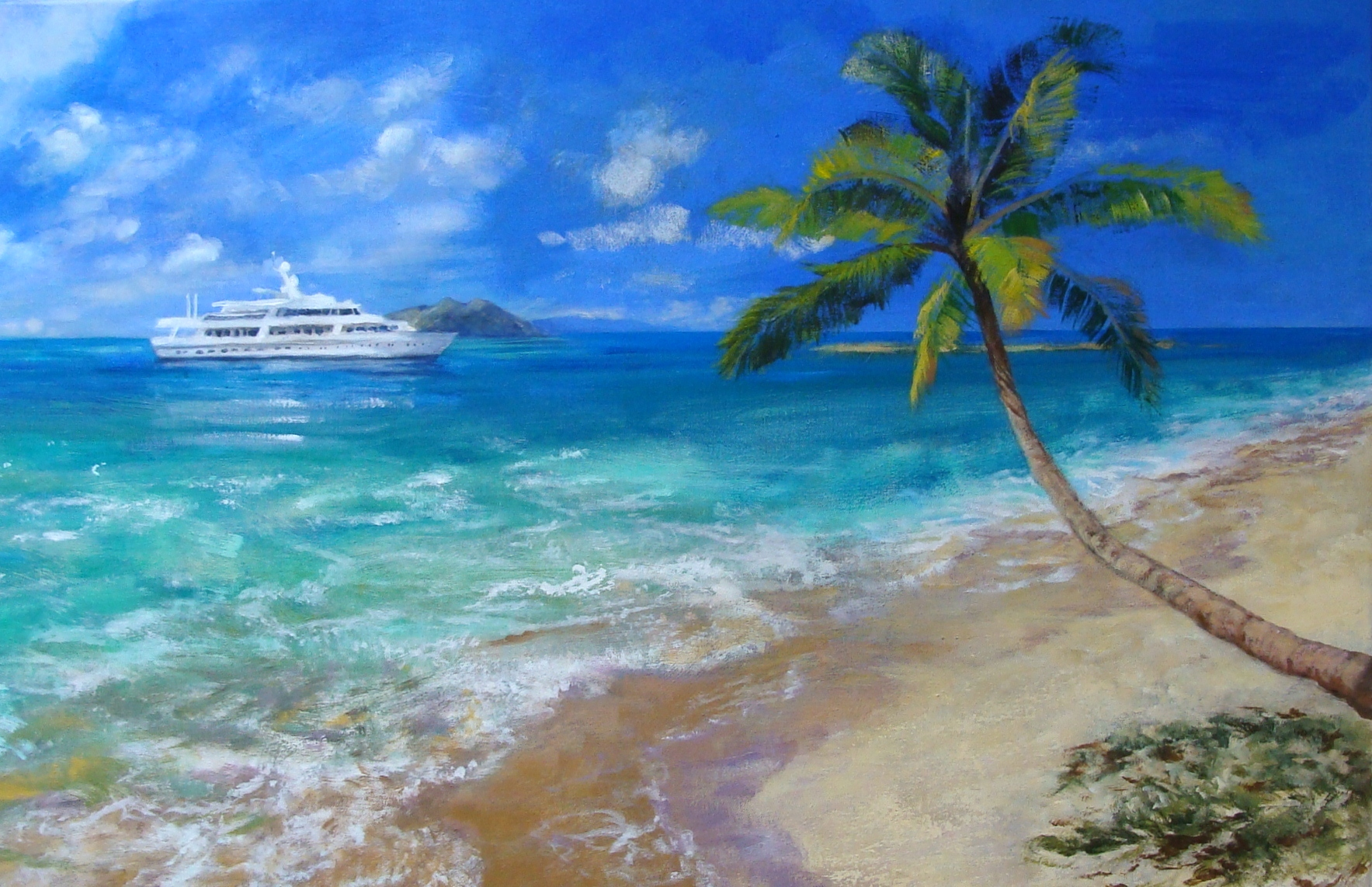 Lillian Kennedy - Caribbean painting commission in process, acrylic