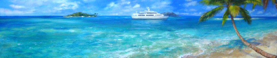 Tabago Cays, Lillian Kennedy, acrylic painting commission, Caribbean Islands