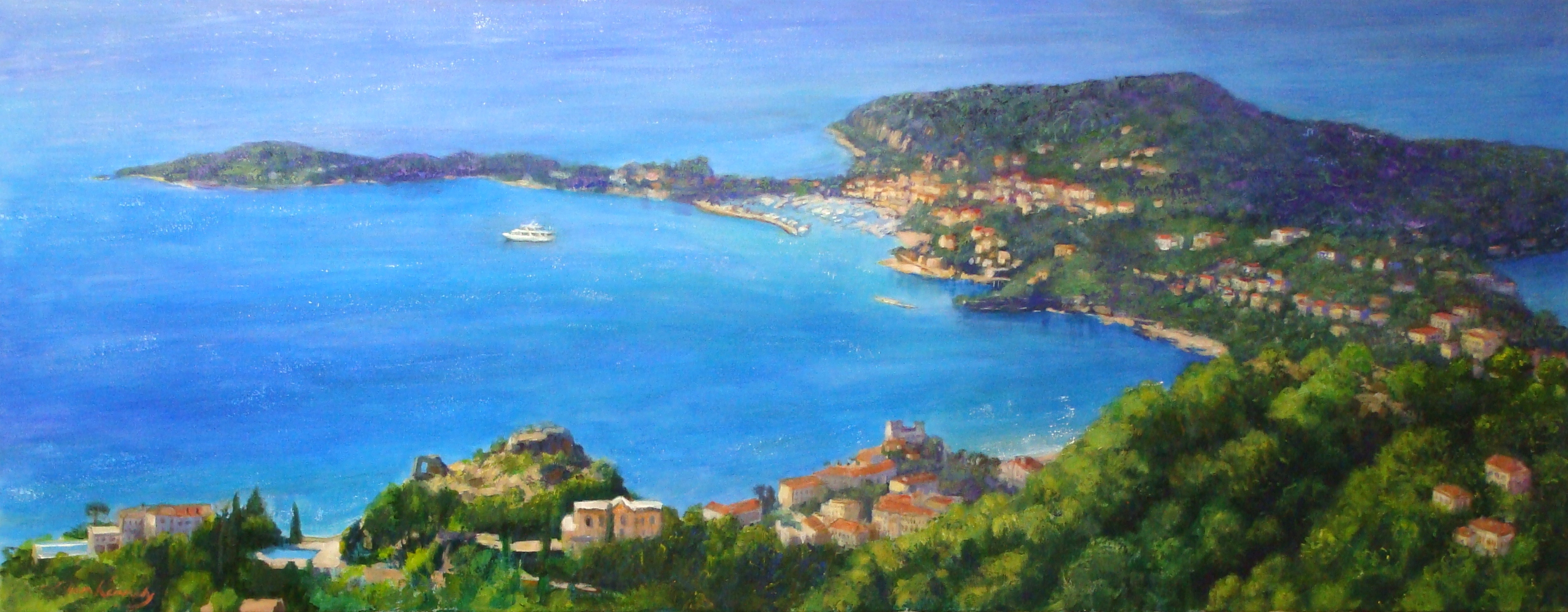 """St Jean Cap Ferrat on the French Riviera (25"""" x 64"""" acrylic ) is one of the other commissions delivered this week. Lillian Kennedy"""