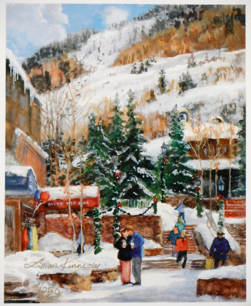 """Cocoa and Kisses"""" Vail, CO in winter - L Kennedy giclee of watercolor and gouach"""