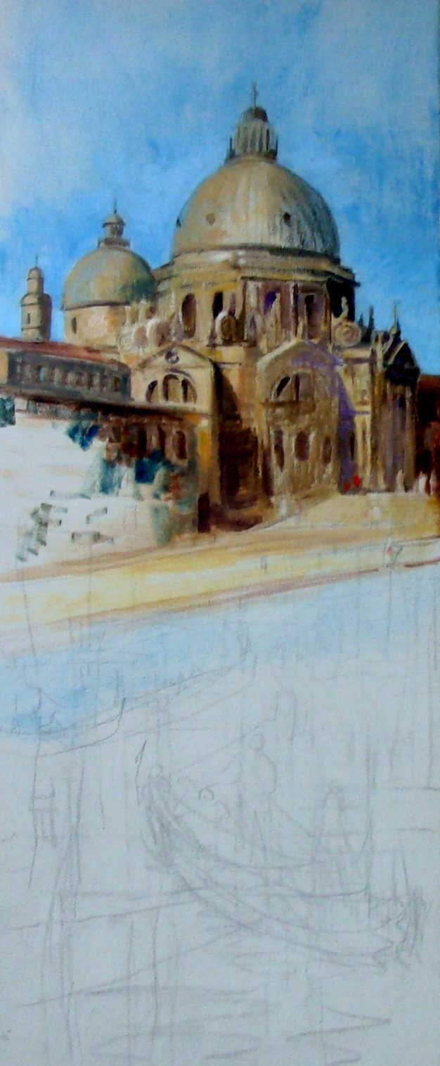 early stage of acrylic painting of Venice - Santa Maria della Salute. Lillian Kennedy