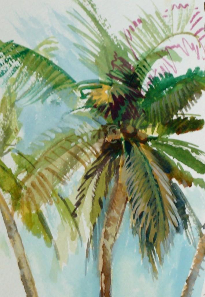 palm tree watercolor - photo #23