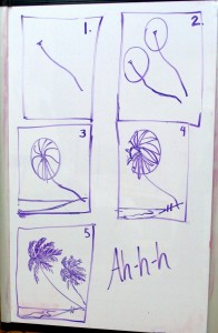 how to draw a palm tree, Lillian Kennedy, weekly art lesson