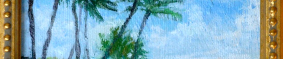 "Palm tree painting, acrylic, Lillian Kennedy 5""x5"""