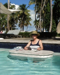 Lillian Kennedy landscape painting in the pool in Puerto Rico