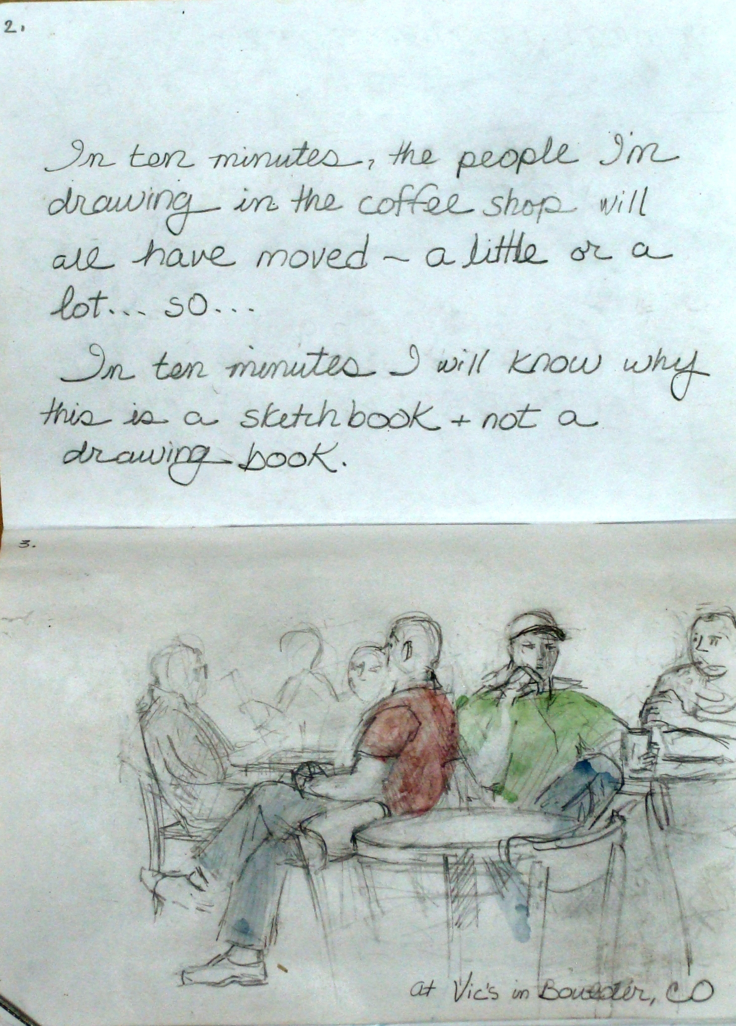 Lillian Kennedy, coffee shop drawing, sketchbook project, in ten minutes