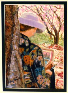 "Elsy Wilkin's painting of Lillian Kennedy painting 5"" x 7"""
