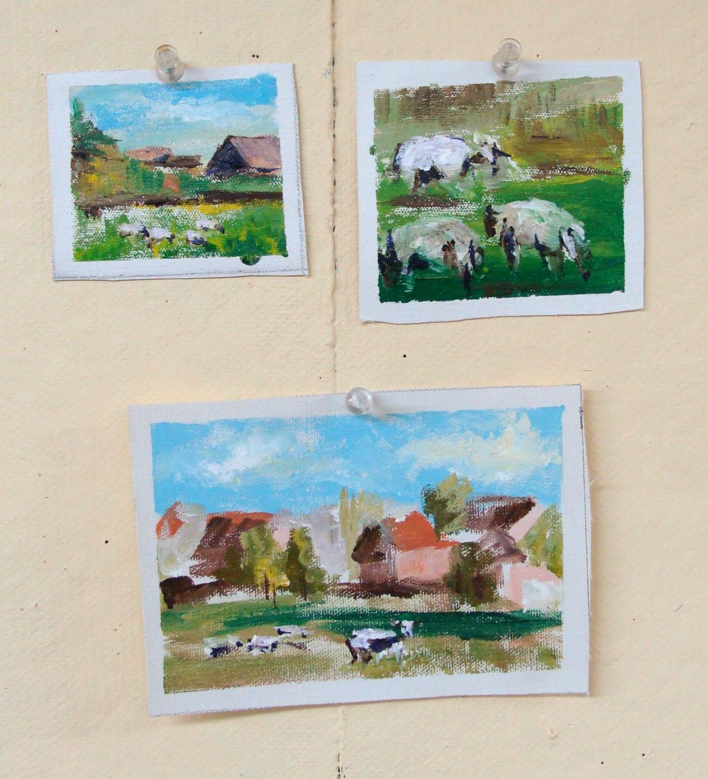 Tisha Balesi Woods mini acrylic landscape paintings, quick painting, Lillian Kennedy art teacher