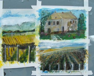 Connie Carlberg's mini landscape paintings during Lillian Kennedy's class