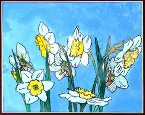 painted daffodils started with drawing an ellipse