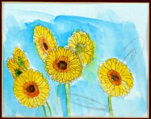 how to draw a gerber daisies by drawing ellipses