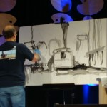 Ken Auster demonstrating at the Plein Air Convention