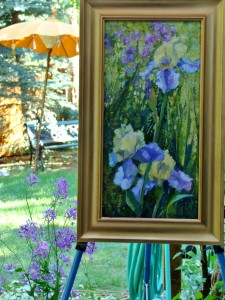 Lillian Kennedy acrylic plein air iris painting