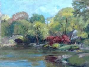 acrylic plein air painting study, Lillian Kennedy, Central Park