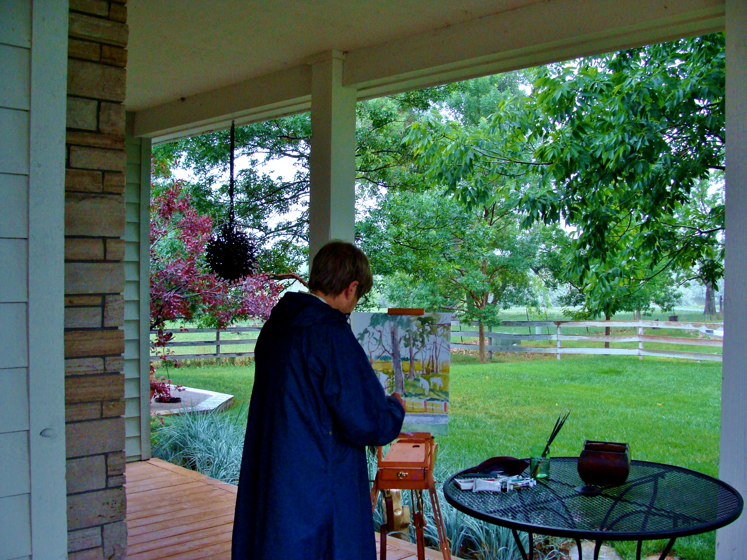 Ann Hayes plein air painting in the rain and staying dry