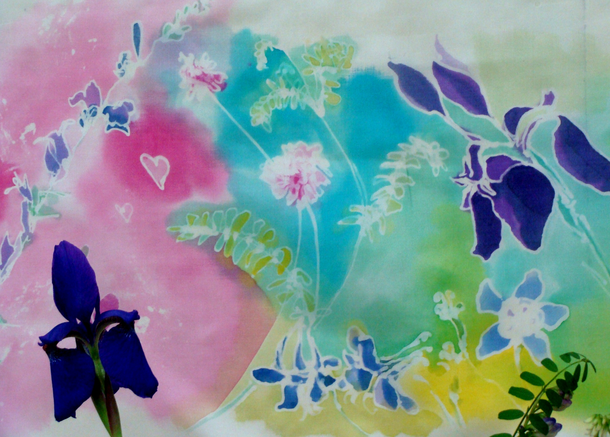 how to - silk painting, iris , Lillian Kennedy, weekly art lesson