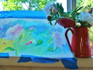 how to - silk painting, peony, Lillian Kennedy, weekly art lesson
