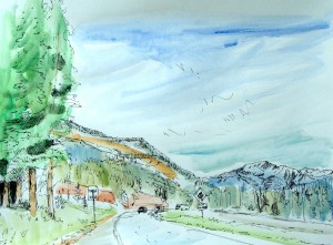 pen and watercolor, waiting for the tow truck, Lillian Kennedy