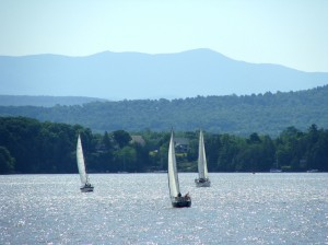 sailboats on Lake Champlain, Charlotte, Vermont ; weekly art lesson: Lillian Kennedy photo