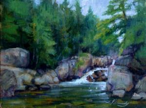 "en plein air landscape painting, waterfall in the adirondacks, Lillian Kennedy 9""x12"" acrylic"
