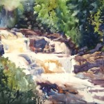 """St.Regis Falls"" watercolor on Aquaboard 14x18"
