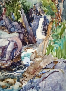 Sarah Yeoman - watercolor - The Flume (Adirondack waterfall)