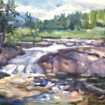"Sarah Yeoman ""Bog River Falls"" watercolor on Aquaboard 9x12"